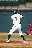 Trae Arbet (7) of the Bristol Pirates at bat against the Johnson City Cardinals at Boyce Cox Field on July 7, 2015 in Bristol, Virginia.  The Cardinals defeated the Pirates 4-1 in game one of a double-header. (Brian Westerholt/Four Seam Images)