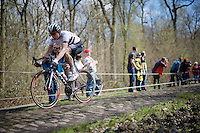 Aleksejs Saramotins (LVA/IAM) races consistently in the front of the race (like here in the infamous Trouée d'Arenberg sector) and will eventually manage an 8th place at the finish<br /> <br /> 114th Paris-Roubaix 2016