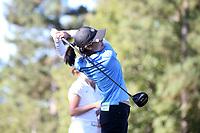 CHAPEL HILL, NC - OCTOBER 11: Jennifer Zhou of the University of North Carolina tees off at UNC Finley Golf Course on October 11, 2019 in Chapel Hill, North Carolina.