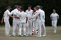 Goresbrook players celebrate taking the second Upminster wicket during Goresbrook CC vs Upminster CC (batting), Essex Cricket League at May & Baker Sports Club on 1st August 2020