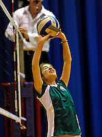 14 November 2010: Vermont Commons School Senior Shana Wolfstein in action during the 2010 Vermont State Volleyball Championships at Saint Michael's College in Colchester, Vermont. Participating schools included: the Enosburg Falls Hornets, the Lake Region Union Rangers, the Lyndon Institute Vikings, and the VCS Flying Turtles. For the third consecutive year the Lady Turtles were champions, while the boys championship went to Lake Region Union High School for the first time. Mandatory Credit: Ed Wolfstein Photo.