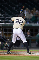 Michael Ludowig (22) of the Wake Forest Demon Deacons at bat against the Charlotte 49ers at BB&T BallPark on March 13, 2018 in Charlotte, North Carolina.  The 49ers defeated the Demon Deacons 13-1.  (Brian Westerholt/Four Seam Images)