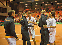 14-sept.-2013,Netherlands, Groningen,  Martini Plaza, Tennis, DavisCup Netherlands-Austria, Doubles,  Robin Haase and Jean-Julien Rojer win the doubles and are being congratulated by their captain Jan Siemerink (NED) and their team members<br /> Photo: Henk Koster