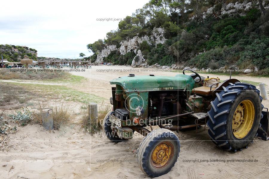 SPAIN Mallorca, old John Deere tractor to clean the beach