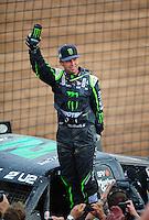 Mar. 20, 2011; Chandler, AZ, USA;  LOORRS pro two driver Jeremy McGrath celebrates after finishing second in round two at Firebird International Raceway. Mandatory Credit: Mark J. Rebilas-