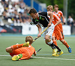 GER - Mannheim, Germany, May 25: During the U16 Boys match between The Netherlands (orange) and Germany (black) during the international witsun tournament on May 25, 2015 at Mannheimer HC in Mannheim, Germany. Final score 3-4 (1-2). (Photo by Dirk Markgraf / www.265-images.com) *** Local caption *** Justen Blok #7 of The Netherlands, Max Weiher #5 of Germany