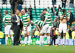 Celtic v St Johnstone …26.08.17… Celtic Park… SPFL<br />Brendan Rodgers talsk with skipper Scott Brown at full time as Nir Bitton shows his disappointment<br />Picture by Graeme Hart.<br />Copyright Perthshire Picture Agency<br />Tel: 01738 623350  Mobile: 07990 594431
