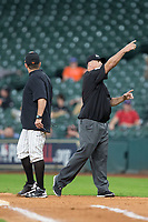 First base umpire Aaron Freeman ejects Sam Houston State Bearkats head coach Matt Deggs after he argued a call during the game against the Mississippi State Bulldogs in game eight of the 2018 Shriners Hospitals for Children College Classic at Minute Maid Park on March 3, 2018 in Houston, Texas.  The Bulldogs defeated the Bearkats 4-1.  (Brian Westerholt/Four Seam Images)
