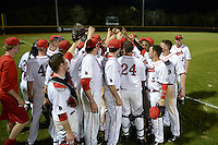 General view of the Ball State Cardinals team huddle after a game against the Maine Black Bears on March 3, 2015 at North Charlotte Regional Park in Port Charlotte, Florida.  Ball State defeated Maine 8-7.  (Mike Janes/Four Seam Images)
