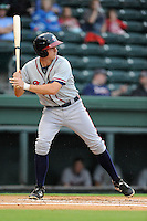 Second baseman Reed Harper (26) of the Rome Braves bats in a game against the Greenville Drive on Thursday, July 31, 2014, at Fluor Field at the West End in Greenville, South Carolina. Rome won the rain-shortened game, 4-1. (Tom Priddy/Four Seam Images)