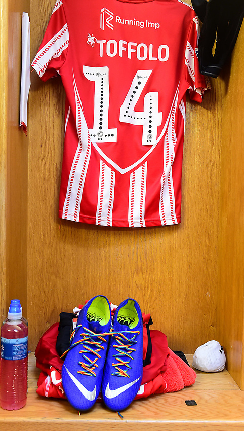 Lincoln City's Harry Toffolo's boots with rainbow laces for LGBTQ day<br /> <br /> Photographer Andrew Vaughan/CameraSport<br /> <br /> The EFL Sky Bet League Two - Lincoln City v Mansfield Town - Saturday 24th November 2018 - Sincil Bank - Lincoln<br /> <br /> World Copyright © 2018 CameraSport. All rights reserved. 43 Linden Ave. Countesthorpe. Leicester. England. LE8 5PG - Tel: +44 (0) 116 277 4147 - admin@camerasport.com - www.camerasport.com