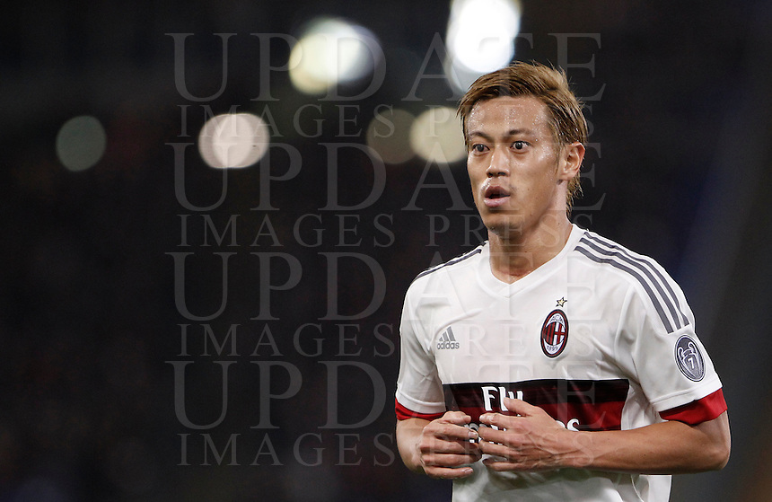 Calcio, Serie A: Roma vs Milan. Roma, stadio Olimpico, 9 gennaio 2016.<br /> AC Milan's Keisuke Honda during the Italian Serie A football match between Roma and Milan at Rome's Olympic stadium, 9 January 2016.<br /> UPDATE IMAGES PRESS/Isabella Bonotto