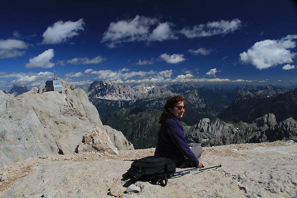 Beth on Mount Marmolada  in Dolomites Mountains, northern Italy, Europe.