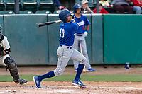 Rancho Cucamonga Quakes left fielder Brayan Morales (10) during a California League game against the Visalia Rawhide on April 8, 2019 in Visalia, California. Rancho Cucamonga defeated Visalia 4-1. (Zachary Lucy/Four Seam Images)
