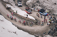up the gravel roads of the Colle delle Finestre <br /> <br /> stage 19: Venaria Reale - Bardonecchia (184km)<br /> 101th Giro d'Italia 2018