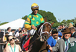 June 7, 2014: #1 Palace Malice, winner of last year's Belmont Stakes, wins the 121st running of the Metropolitan at Belmont Park , Elmont, NY. Jockey is John Velazquez, trainer is Todd Pletcher. Owner Cot Campbell is at right, leading the horse.   ©Joan Fairman Kanes/ESW/CSM