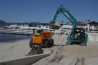 Cannes festival 2019<br /> Only days away from the Cannes film Festival starting. The whole beach front is being transformed. Bulldozers are moving tons of sand on to the beach; truck loads sand being put on top of the washed away dirty sand from last year.More or less like a military to make a perfect beach. The hotels are being transformed and their prices rocket. Gone is the Cannes of 70 years ago when it was sleepy village and the building of the Cannes film Festival is being vamped up with large screens being directed in massive tents on the roof. <br /> Starting on the 20th of September, 1946 -21 countries came to Cannes to present their films at the first ever Cannes film festival. 72 years in, and the festival continues to not oly expand, but to push the boundries of cinematic art and cinematography. Celebrities, aspiring and already renowned flock the streets and directors, producers etcetera wait anxiously for their art to be screened, viewed by the elite - and later that day; viewed by the masses. <br /> CAP/GOL<br /> ©GOL/Capital Pictures