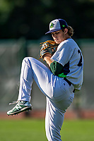 29 August 2019: Vermont Lake Monsters pitcher Tyler Baum warms up prior to a Single-A minor league baseball game against the Connecticut Tigers at Centennial Field in Burlington, Vermont. The Lake Monsters fell to the Tigers 6-2 in the first game of their NY Penn League double-header.  Mandatory Credit: Ed Wolfstein Photo *** RAW (NEF) Image File Available ***