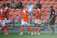 Blackpool's CJ Hamilton celebrates scoring his side's second goal with team-mates<br /> <br /> Photographer Kevin Barnes/CameraSport<br /> <br /> The EFL Sky Bet League One - Blackpool v Swindon Town - Saturday 19th September 2020 - Bloomfield Road - Blackpool<br /> <br /> World Copyright © 2020 CameraSport. All rights reserved. 43 Linden Ave. Countesthorpe. Leicester. England. LE8 5PG - Tel: +44 (0) 116 277 4147 - admin@camerasport.com - www.camerasport.com