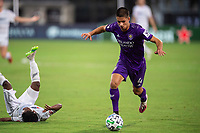 LAKE BUENA VISTA, FL - JULY 31: Joao Moutinho #4 of Orlando City SC dribbles the ball during a game between Orlando City SC and Los Angeles FC at ESPN Wide World of Sports on July 31, 2020 in Lake Buena Vista, Florida.