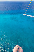 View from the air while parasailing in Cozumel, Mexico.  This is the best way to see the incredibly turqouise-blue water around the island of Cozumel.<br /> <br /> Canon EOS 5D Mk II, 24-105L lens
