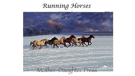 Running horses card set