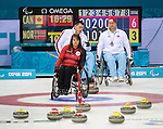 Sochi, RUSSIA - Mar 10 2014 -  Ina Forrest call a shot during Canada vs Norway in Wheelchair Curling round robin play at the 2014 Paralympic Winter Games in Sochi, Russia.  (Photo: Matthew Murnaghan/Canadian Paralympic Committee)