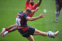 30th September 2020; Ashton Gate Stadium, Bristol, England; Premiership Rugby Union, Bristol Bears versus Leicester Tigers; Andy Uren of Bristol Bears kicks under pressure from Zack Henry of Leicester Tigers