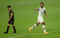 LOS ANGELES, CA - SEPTEMBER 13: Jeremy Ebobisse #17 of the Portland Timbers scores a goal and celebrates during a game between Portland Timbers and Los Angeles FC at Banc of California stadium on September 13, 2020 in Los Angeles, California.