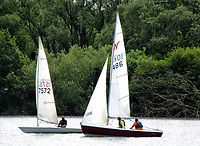 People go sailing on Priory Country Park lakes as restrictions on forms of exercise are being eased during the COVID 19 Lockdown. Priory Park, Bedford, UK on May 17th 2020<br />
