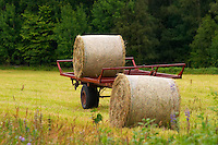 Hay bales on a cart. Smaland region. Sweden, Europe.