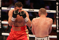 9th October 2021; M&S Bank Arena, Liverpool, England; Matchroom Boxing, Liam Smith versus Anthony Fowler; LIAM SMITH (Liverpool, England)covers up against ANTHONY FOWLER (Liverpool, England) during their WBA International Super-Welterweight Title contest