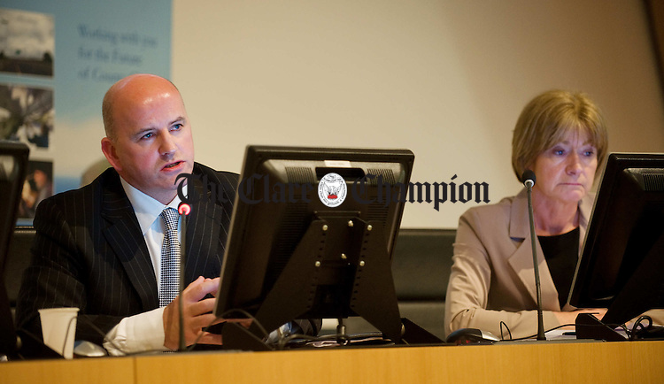 Sean Gallagher, flanked by Mary by Davis takes questions from the chamber while seeking nomination from Clare County Council for a Presidential election candidature. Photograph by John Kelly.