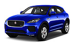 2018 Jaguar E Pace R Dynamic 5 Door SUV angular front stock photos of front three quarter view