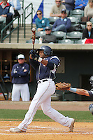 Samford Bulldogs outfielder Phillip Ervin #6 at bat during a game against the The Citadel Bulldogs at Joseph P. Riley Jr. Ballpark on March 10, 2013 in Charleston, SC. Samford defeated the Citadel 14-8. (Robert Gurganus/Four Seam Images)