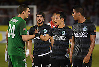 BARRANQUIILLA -COLOMBIA-27-06-2013. Jugadores de Atlético Nacional celebran la victoria sobre Atlético Junior en partido por la fecha 15 de la Liga Postobón II 2014 jugado en el estadio Metropolitano Roberto Meléndez de la ciudad de Barranquilla./ Players of Atletico Nacional celebrate the victory over Atletico Junior in match for the 15th date of the Postobon League II 2014 played at Metropolitano Roberto Melendez stadium in Barranquilla city.  Photo: VizzorImage/Alfonso Cervantes/STR