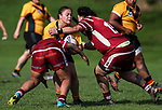 Geneva Webber of Manurewa is tackled.  Premier Women's Rugby League, Papakura Sisters v Manurewa Wahine, Prince Edward Park, Auckland, Sunday 13th August 2017. Photo: Simon Watts / www.phototek.nz