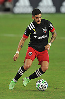 WASHINGTON, DC - SEPTEMBER 12: Junior Moreno #5 of D.C. United moves the ball during a game between New York Red Bulls and D.C. United at Audi Field on September 12, 2020 in Washington, DC.