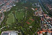 aerial photograph of the English Garden park, Munich, Bavaria, Germany | Luftbild Englischer Garten, München