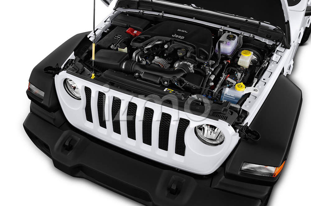 Car stock 2020 Jeep Wrangler Unlimited Sport S 5 Door SUV engine high angle detail view