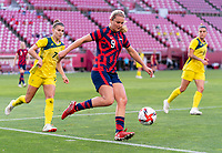 KASHIMA, JAPAN - AUGUST 5: Lindsey Horan #9 of the USWNT controls the ball during a game between Australia and USWNT at Kashima Soccer Stadium on August 5, 2021 in Kashima, Japan.