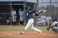 AZL Padres 2 second baseman Jordy Barley (55) follows through on his swing during an Arizona League game against the AZL Padres 1 at Peoria Sports Complex on July 14, 2018 in Peoria, Arizona. The AZL Padres 1 defeated the AZL Padres 2 4-0. (Zachary Lucy/Four Seam Images)