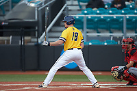 Hogan Windish (18) of the UNCG Spartans at bat against the San Diego State Aztecs at Springs Brooks Stadium on February 16, 2020 in Conway, South Carolina. The Spartans defeated the Aztecs 11-4.  (Brian Westerholt/Four Seam Images)