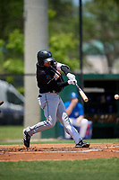 Jupiter Hammerheads Victor Victor Mesa (32) grounds into a double play during a Florida State League game against the Dunedin Blue Jays on May 16, 2019 at Jack Russell Memorial Stadium in Clearwater, Florida.  Dunedin defeated Jupiter 1-0.  (Mike Janes/Four Seam Images)