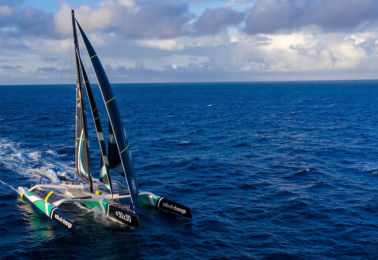 The largest racing multihull ever built (37 metres), which has been renamed especially for this attempt: Sails of Change