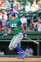 Outfielder Bubba Starling (11) of the Lexington Legends in a game against the Greenville Drive on Monday, July 22, 2013, at Fluor Field at the West End in Greenville, South Carolina. Starling is the No. 2 prospect of the Kansas City Royals and was the No. 5 overall pick in the first round of the 2011 First-year Player Draft. Lexington won, 7-3. (Tom Priddy/Four Seam Images)