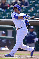 Christian Villanueva (16) of the Iowa Cubs swings at pitch against the New Orleans Zephyrs at Principal Park on April 23, 2015 in Des Moines, Iowa.  The Zephyrs won 9-2.  (Dennis Hubbard/Four Seam Images)