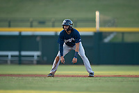 AZL Brewers center fielder Micah Bello (3) takes a lead off second base during an Arizona League game against the AZL Cubs 1 at Sloan Park on June 29, 2018 in Mesa, Arizona. The AZL Cubs 1 defeated the AZL Brewers 7-1. (Zachary Lucy/Four Seam Images)