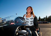 Nov 17, 2019; Pomona, CA, USA; NHRA pro stock motorcycle rider Jianna Salinas during the Auto Club Finals at Auto Club Raceway at Pomona. Mandatory Credit: Mark J. Rebilas-USA TODAY Sports