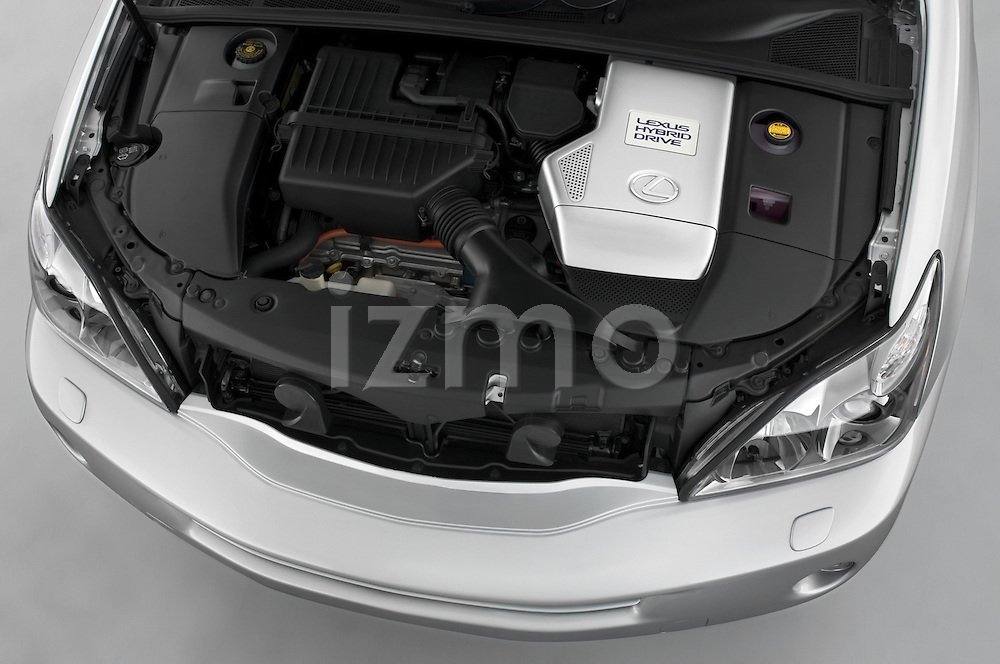 High angle engine view of a 2008 Lexus RX Hybrid